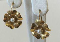 14K Yellow Gold Pearl Flower Earrings