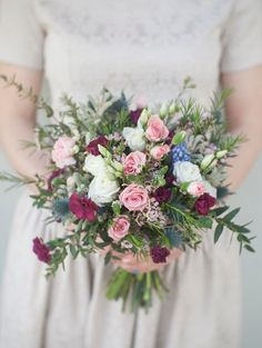 Boho wedding bouquet of fresh roses, wildflowers, and thistle in blush, burgundy, and white. Boho Wedding Bouquet, Wedding Flowers, Pastel Colors, Floral Arrangements, Floral Wreath, Wedding Inspiration, Industrial Design, Engagement, Casamento