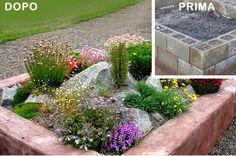 Idee giardino fai da te: AIUOLA CON SASSI O BLOCCHI CEMENTO FAI DA TE DA GIARDINO usando materiali di riciclo
