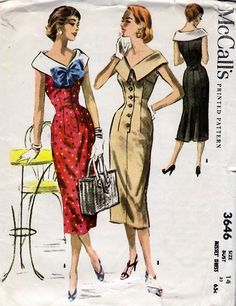 1956+Misses'+Dress++McCall's+3646++Size+14++Bust+32+by+HelaQ,+$27.00