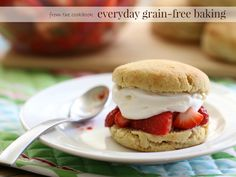 Simple yet decadent, these strawberry shortcake biscuits are delicious proof that gluten-free baking can be easy and satisfying. Gluten Free Baking, Gluten Free Desserts, Paleo Baking, Healthier Desserts, Healthy Sweets, Delicious Desserts, Paleo Dessert, Dessert Recipes, Dessert Ideas