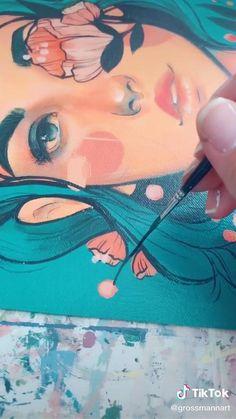 Gouche Painting, Painting Art, Paintings, Arte Van Gogh, Art Anime, Guache, Diy Canvas Art, Art Drawings Sketches, Portrait Art