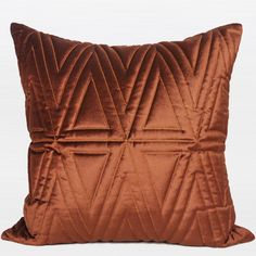 """Red Brown Triangle Pattern Quilting Pillow 22""""X22"""""""