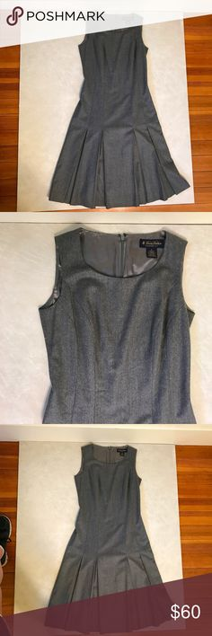 brooks brothers grey wool pleated business dress 2 item: brooks brothers grey (gray) 100% wool pleated business dress. fully lined. size: 2 condition: pre-loved, worn 1-2 times.  please feel free to comment if you have any questions!  open to reasonable offers. Brooks Brothers Dresses