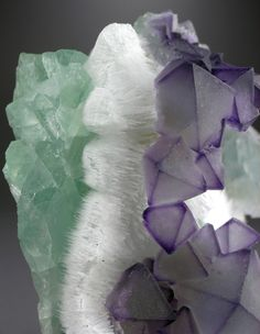 Octahedral Fluorite on Quartz on green Fluorite - De'An, Jiangxi Province, China