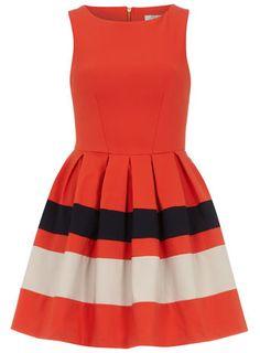 Orange contrast skirt dress