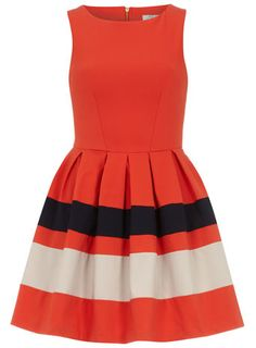 Orange contrast skirt dress