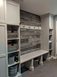Home Renovation Basement Mudroom Ideas - Mudrooms as well as entries can be key for keeping your residenc. Mudroom Laundry Room, Laundry Room Remodel, Laundry Room Design, Closet Mudroom, Basement Remodeling, Basement Ideas, Basement Plans, Foyers, Cheap Home Decor