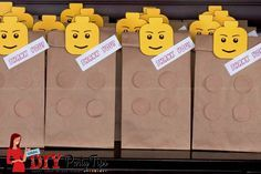These homemade give-away bags are perfect for your Lego birthday party. They are fast homemade. More suitable ideas for yours Lego Party Games, Lego Party Favors, Lego Themed Party, Lego Birthday Party, 4th Birthday Parties, Birthday Cakes, Diy Party Bags, Lego Parties, Party Hats