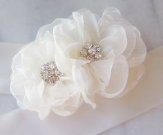 Ivory Bridal Sash Rhinestone and Organza Flowers by TheRedMagnolia, $88.00