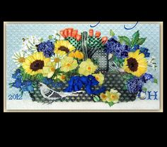 Texas Basket, melissa shirley needlepoint canvas with sunflowers, blue bonnets, and silk ribbon embroidery