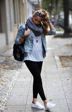 black jeans, striped top, jean jacket, and converse tennis shoes. wear long necklace or scarf.