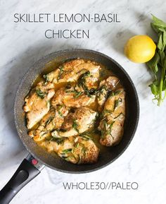 a creamy Lemon-basil chicken skillet that will make all your #whole30 dreams come true!!! sooooo yummy!!
