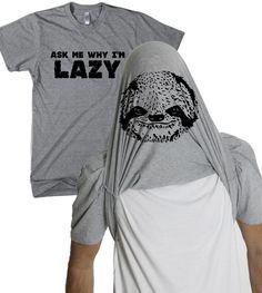 Sloth Flipover T Shirt Ask Me Why I'M Lazy Funny Sloth Tee   eBay