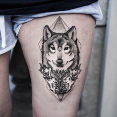 dogma-noir:  Wolf tattoo by 23Dogma.  Instagram: @dogma_noir