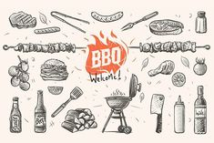 Set of hand drawn barbecue elements for your design. Pack includes vector file (eps and high resolution jpeg. Meat Drawing, Wall Drawing, Menu Design, Design Art, Logo Design, Graphic Design, Carne Asada, Barbecue, Bbq Grill