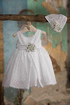 Λευκό φόρεμα βάπτισης Venta Li 2725 με πλεκτό σκουφάκι, annassecret, Χειροποιητες μπομπονιερες γαμου, Χειροποιητες μπομπονιερες βαπτισης
