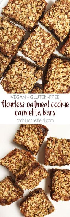 Flourless Oatmeal Cookie Carmelita Bars that are vegan, gluten-free and refined sugar-free. A healthy and clean twist to the traditional carmelita treat!
