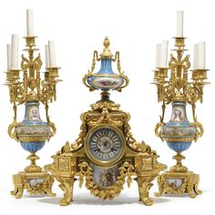 A Napoleon III gilt-bronze and turquoise ground Sèvres-style porcelain three piece clock garniture Paris, circa 1875 Estimate — USD LOT SOLD. Antique Clocks For Sale, Antique Wall Clocks, Old Clocks, Wall Clock Brands, Wall Clock Online, Wall Clock Luxury, Altar, Classic Clocks, Retro Clock