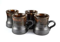 Crown Lynn Country Fair Mugs - Vintage Set of Four Chocolate Pottery Drip Glaze Coffee Cups 1222 - Made in New Zealand