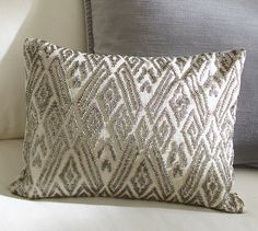 Maddie Beaded Lumbar Pillow Cover - Pottery Barn