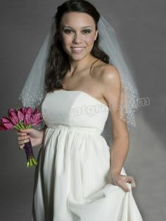 5868886afa4 Chiffon Strapless Chapel Train Shirring Wedding Dress Pregnant Wedding Dress