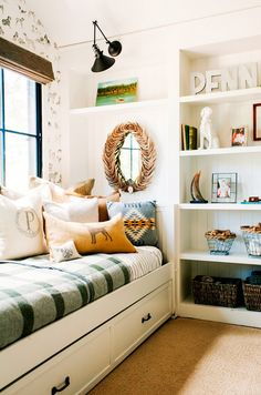 Home Tour: A Textile Designer's Preppy, Feminine Space via /mydomaine/ - see Pendleton's checked washable wool bed blankets. Room, Room Design, Home, Bookshelves Built In, Little Boys Rooms, Room Inspiration, Bedroom Decor, Trending Decor, Kids Bedroom