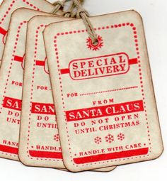 Christmas Gift Tags / Special Delivery From Santa / Labels / Hang Tags / Place Cards / Escort Cards / Vintage Style - Set of 8. $6.00, via Etsy.
