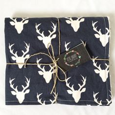 Navy Deer Minky Baby Blanket Modern Minky by LLullabyCreations