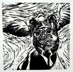 Cow 1 lino print - by lizchaderton