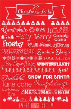 22 Christmas Fonts {free} - EverythingEtsy.com