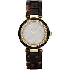 Relic® Womens Crystal-Accent Tortoise-Look Watch - jcpenney