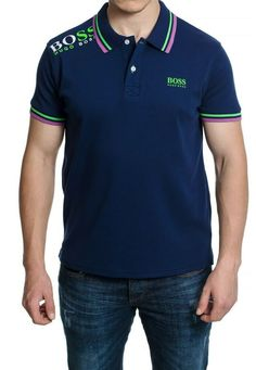 71bc3344 Men's T-shirt Polo Shirt Hugo Boss Navy Blue Color Short Sleeves Size XXL #