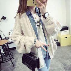 ¥4,600 ドルマンスリーブ ニットカーディガン 春コーデ 韓国ファッション | Rayca!