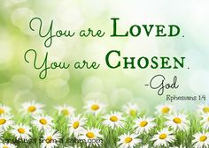 ~I am chosen and not rejected~ Ephesians 1:4 NLT 4 Even before he made the world, God loved us and chose us in Christ to be holy and without fault in his eyes.