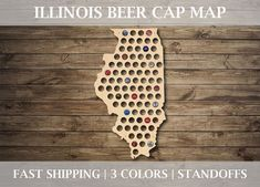HIGHEST QUALITY BEER CAP MAP ON THE MARKET  *HAND-MADE IN THE U.S.A* *FAST SHIPPING*  ---- Product Information ---- These maps make a great gift for any craft beer drinker! The maps are handcrafted with cabinet grade 1/4 inch Birch plywood (high quality wood, not imported flimsy