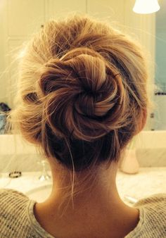 Loose and lovely! You first braid the hair loosly then twist around and pin