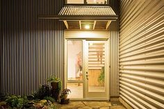 corrugated metal porch entry wall