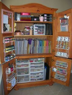 Organize craft supplies --I have an old chest of drawers I'm going to use--take out the drawers & add doors from homedepot