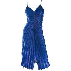 1970s Samir Metallic Blue Pleated Disco Vintage 70s Studio 54 Sexy... (12,800 MXN) ❤ liked on Polyvore featuring dresses, disco dress, vintage disco dress, sexy dresses, blue metallic dress and metallic pleated dress