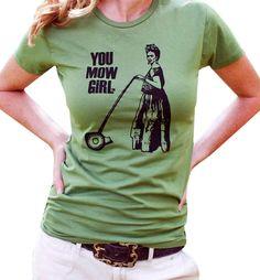 Frida Kahlo-You Mow Girl-Women's Graphic Tee Shirt. $24.00, via Etsy.