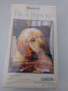 "12 Wonderart 12x12 Caron Dog Dogs Puppies Latch Hook Kit 12/""sq Puppy Love"