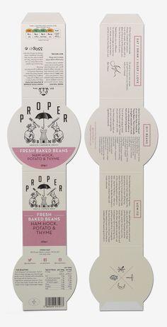 New Packaging for Proper Beans by Interabang - BP&O Logo and packaging designed by Interabang for British handmade, five-hour baked bean range Proper Beans Salad Packaging, Baking Packaging, Food Box Packaging, Cheese Packaging, Ice Cream Packaging, Food Packaging Design, Pretty Packaging, Packaging Design Inspiration, Brand Packaging