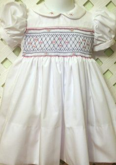 Classic Smocked Dress with blue smocking