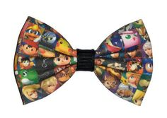 Smash Bros themed adorable fabric bow hair clip on a double prong alligator clip (approx 3 inches in length)