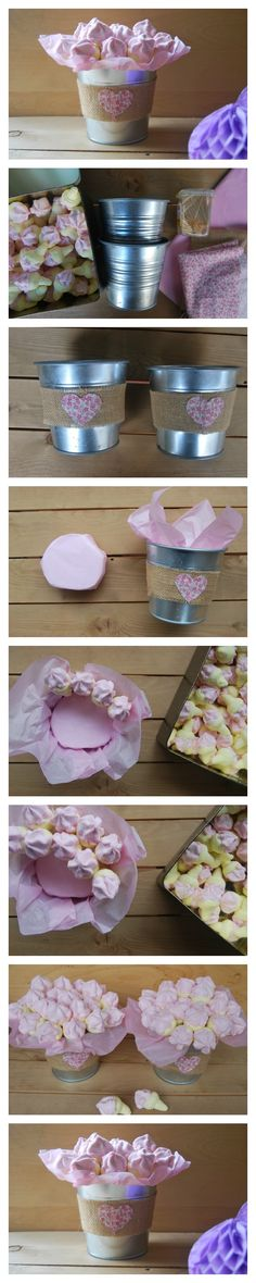 Maceta de Chuches con un toque Shabby Chic. DIY candy bucket for birthday party