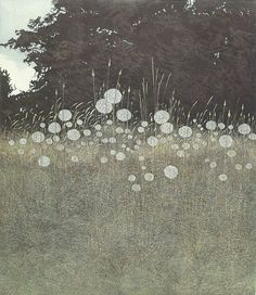 "yama-bato: "" Phil Greenwood. Field with fluffy plumes. Intaglio print. """