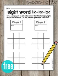 Grade A fun literacy center or sight word game for kids. Students use sight words as tic-tac-toe pieces and play against classmates. Great for repetition and learning how to spell sight words. Teaching Sight Words, Sight Word Practice, Teaching Letters, Sight Word Activities, Sight Word Wall, Second Grade Sight Words, Sight Word Bingo, Sight Word Worksheets, Spelling Practice