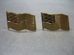 SOLID 14K YELLOW GOLD AMERICAN FLAG SMALL STUD EARRINGS .45 GRAMS #Stud