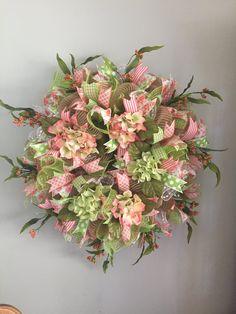 Custom Order For Cynthia F  Burlap Floral Wreath  Peach